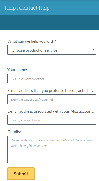 Contact the Help Team Moz