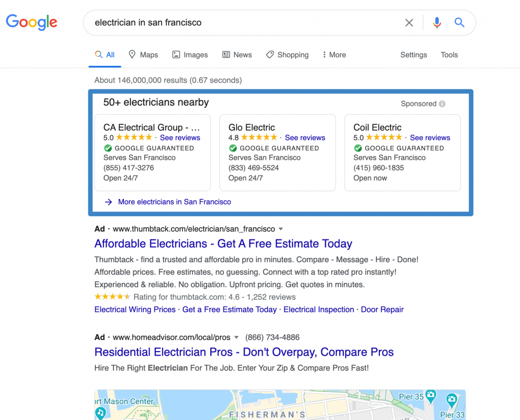 Example of a Google Local Service Ad