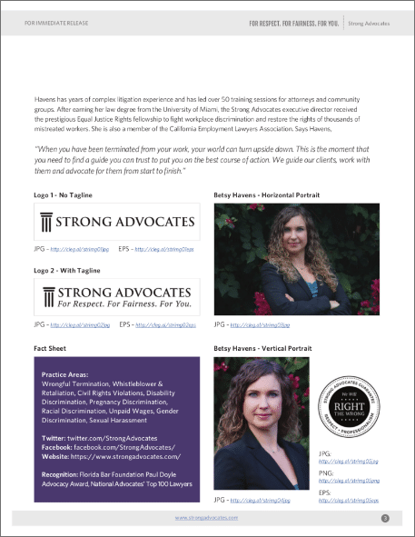 A page from the Strong Advocate press kit.