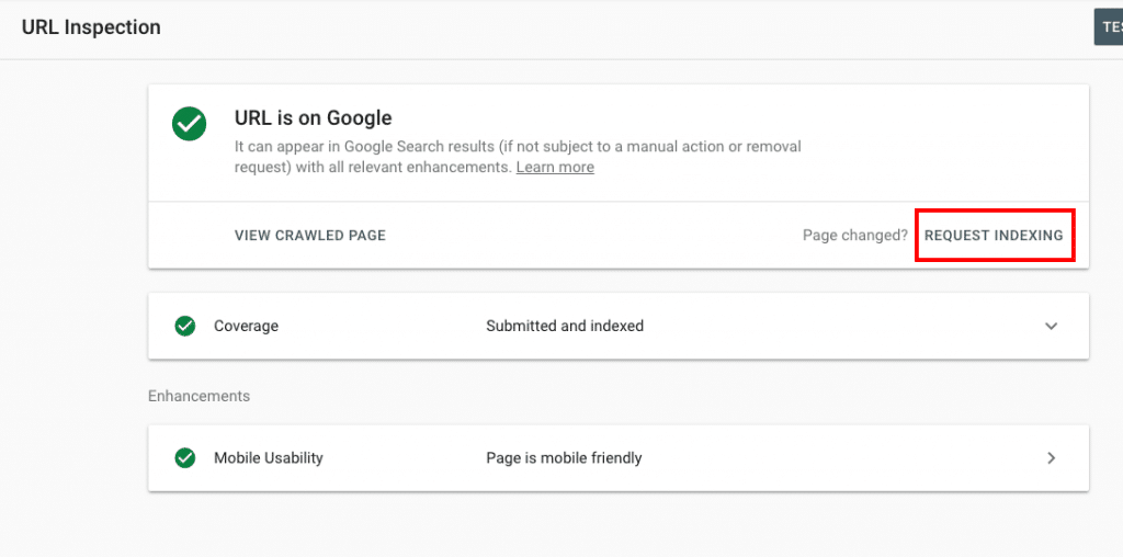 Google Search Console URL Inspector