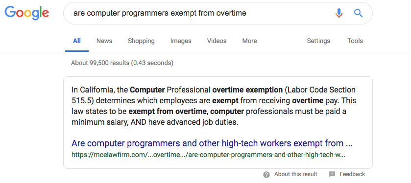 are computer programmers exempt from overtime Google Search