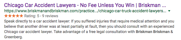 Personal injury law firm showing 5 star rating in organic search engine results