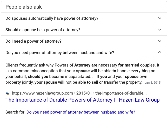 FAQ featured snippet about power of attorney