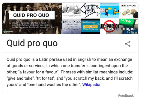featured snippet on quid pro quo